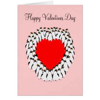 Happy Valentines day Penguin heart Card