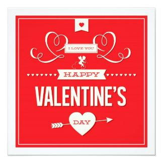 "Happy Valentine's Day Photo Flat Card 5.25"" Square Invitation Card"