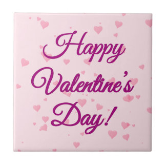Happy Valentine's Day | Pink and Purple Hearts Ceramic Tile