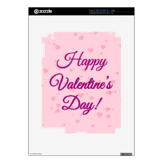 Happy Valentine's Day   Pink and Purple Hearts Decal For iPad 2