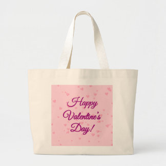 Happy Valentine's Day | Pink and Purple Hearts Large Tote Bag