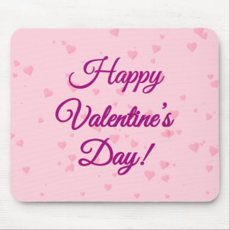 Happy Valentine's Day | Pink and Purple Hearts Mouse Pad