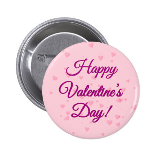 Happy Valentine's Day | Pink and Purple Hearts Pinback Button