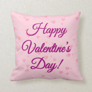 Happy Valentine's Day | Pink and Purple Hearts Throw Pillow