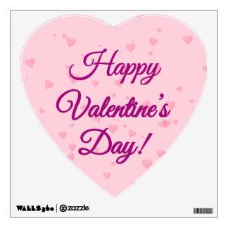 Happy Valentine's Day | Pink and Purple Hearts Wall Sticker