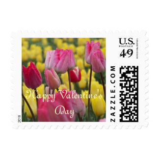 Happy Valentine's Day Pink and Yellow Tulips Postage Stamps