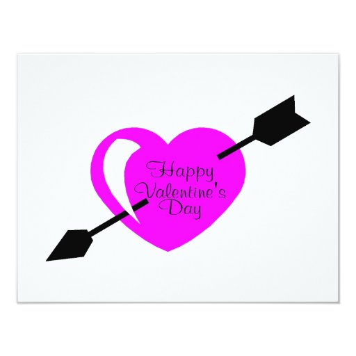 Happy Valentines Day Pink Black Heart 4.25x5.5 Paper Invitation Card