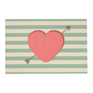 Happy Valentines day pink heart retro design Placemat