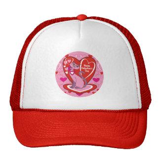Happy Valentine's Day Pink Kitty Trucker Hat
