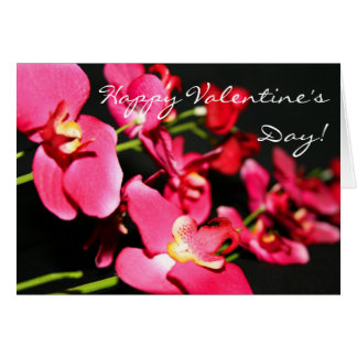 Happy Valentine's Day Pink Orchids greeting card
