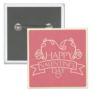 Happy Valentines Day pink retro design greeting Buttons