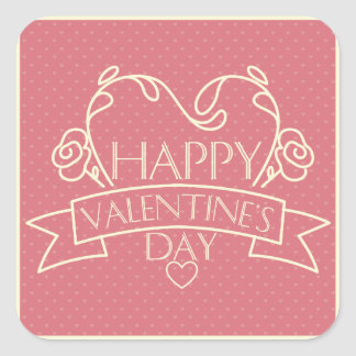 Happy Valentines Day pink retro design greeting Square Sticker