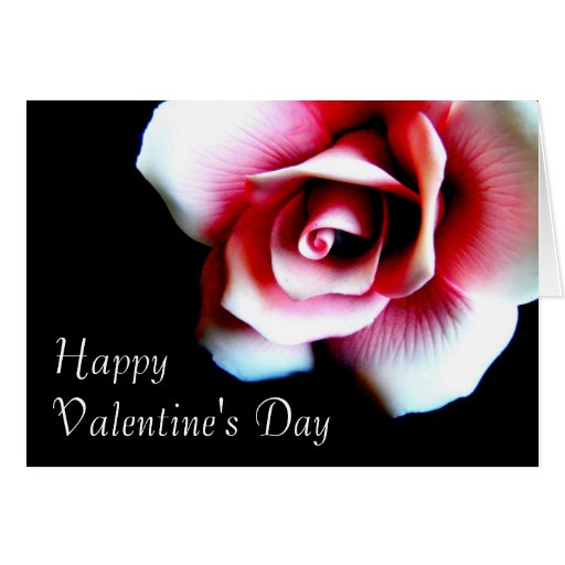 Happy Valentine's Day Pink Rose Greeting Card