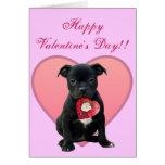 Happy Valentine's Day Pitbull Puppy greeting card