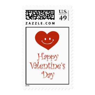 Happy Valentine's Day Postage with heart and smile