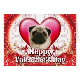 Happy Valentines Day Pug Card