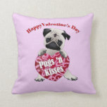 Happy Valentines Day Pugs N Kisses Pug Tees, Gifts Pillow