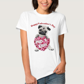 Happy Valentines Day Pugs N Kisses Pug Tees, Gifts Shirt