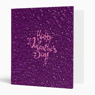happy Valentines Day, purple 3 Ring Binders