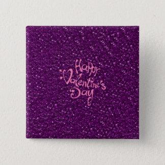 happy Valentines Day, purple Pinback Button