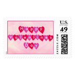 Happy Valentines Day, red and pink hearts stamps