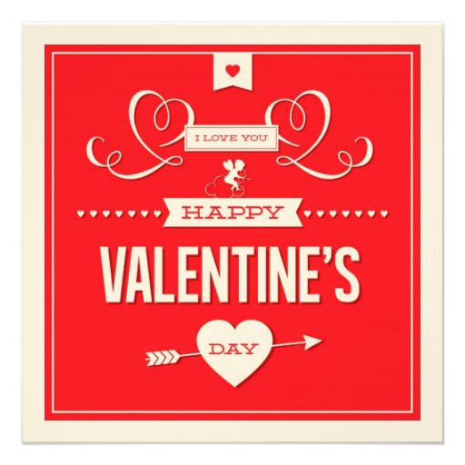 Happy Valentine's Day Red Flat Card