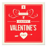 Happy Valentine's Day Red Flat Card Custom Invites