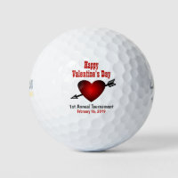 Happy Valentines Day Red Heart Tournament Outing Golf Balls