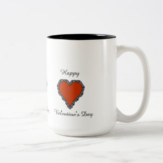 Happy Valentine's Day Red Heart w/ Black Lace Mug