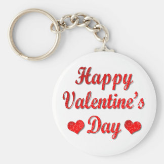 Happy Valentine's Day Red Hearts Key Chain