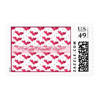 Happy Valentine's Day Red Hearts on White Stamp