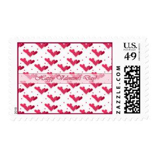Happy Valentine's Day Red Hearts on White Stamp