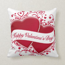 Happy Valentine's Day! Red Hearts Throw Pillow