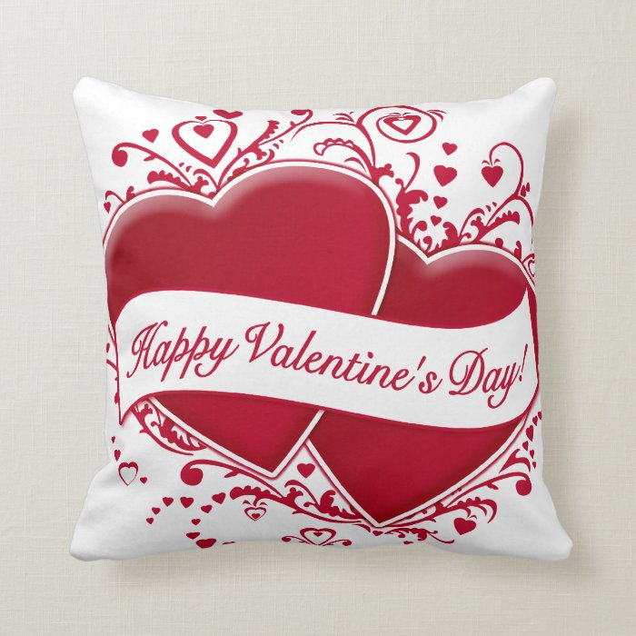 Red Heart Decorative Pillow : Happy Valentine s Day! Red Hearts Throw Pillow Zazzle