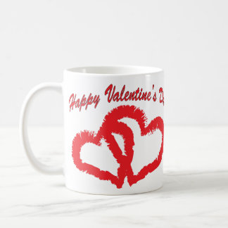 Happy Valentine's Day Red Kissing Hearts Mug