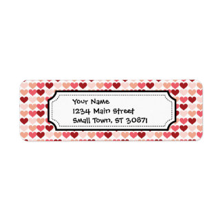 Happy Valentine's Day Red Pink Hearts Pattern Label