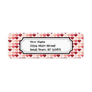 Happy Valentine's Day Red Pink Hearts Pattern Label