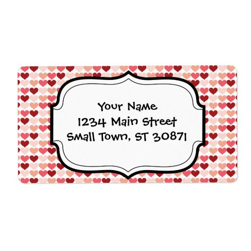 Happy Valentine's Day Red Pink Hearts Pattern Shipping Label