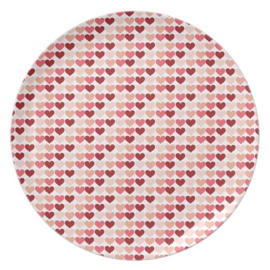 Happy Valentine's Day Red Pink Hearts Pattern Melamine Plate