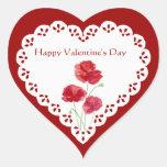 Happy Valentine's Day Red Poppy Garden Plant Heart Sticker