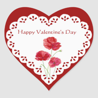Happy Valentine's Day Red Poppy Garden Plant Heart Sticker