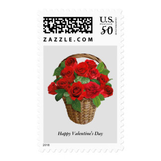 Happy Valentine's Day Red Roses Postage