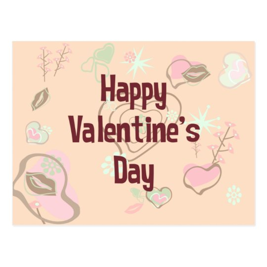 Happy Valentine's Day Retro Postcard