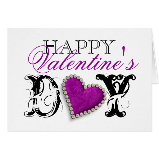 """Happy Valentine's day"" romantic purple love Greeting Card"