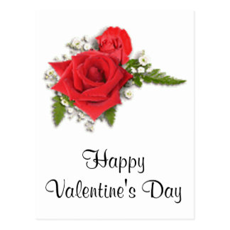 Happy Valentines Day Romantic Red Roses Postcard