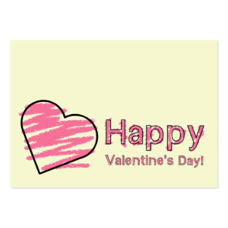 Happy Valentine's Day Set Of 100 Pink Crayon Cards