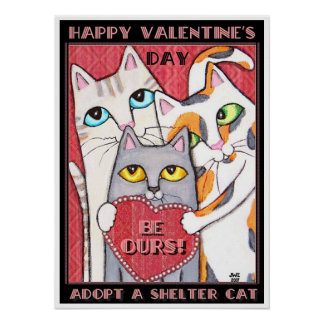 Happy Valentine's Day Shelter Cats Poster