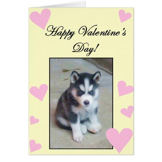Happy Valentine's Day Siberian Husky Puppy card