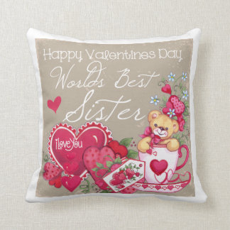 Happy Valentines Day Sister Pillow