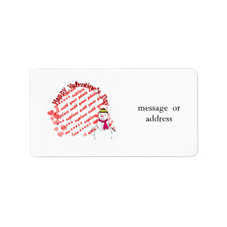 Happy Valentine's Day Snowy Sweetheart Girl Personalized Address Labels